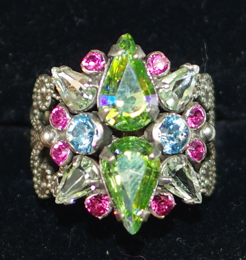 SORRELLI RING ALSTROMERIA VIVID HORIZONS: cluster crystals on adjustable delicate fillagree antique silver band