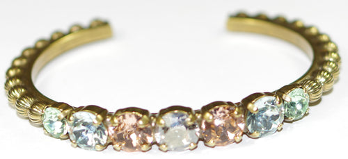 SORRELLI BRACELET MIMOSA WASHED WATERFRONT: adjustable cuff, round crystals, decorative ball accents in antique gold setting