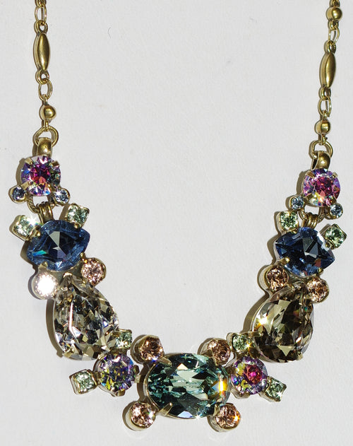 "SORRELLI NECKLACE LAUREL WASHED WATERFRONT: 5/8"" center stone, oval, pear, marquis crystals in 16"" antique gold setting"