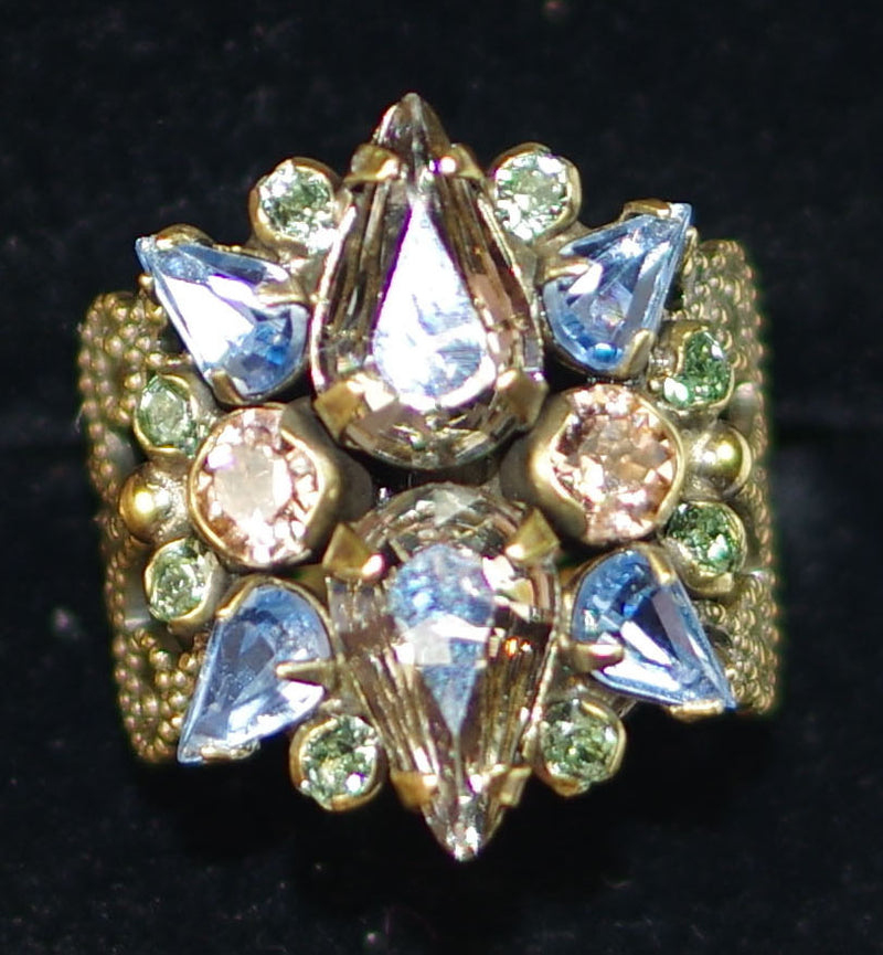 SORRELLI RING ALSTROMERIA WASHED WATERFRONT: crystal cluster on delicate fillagree adjustable antique gold band