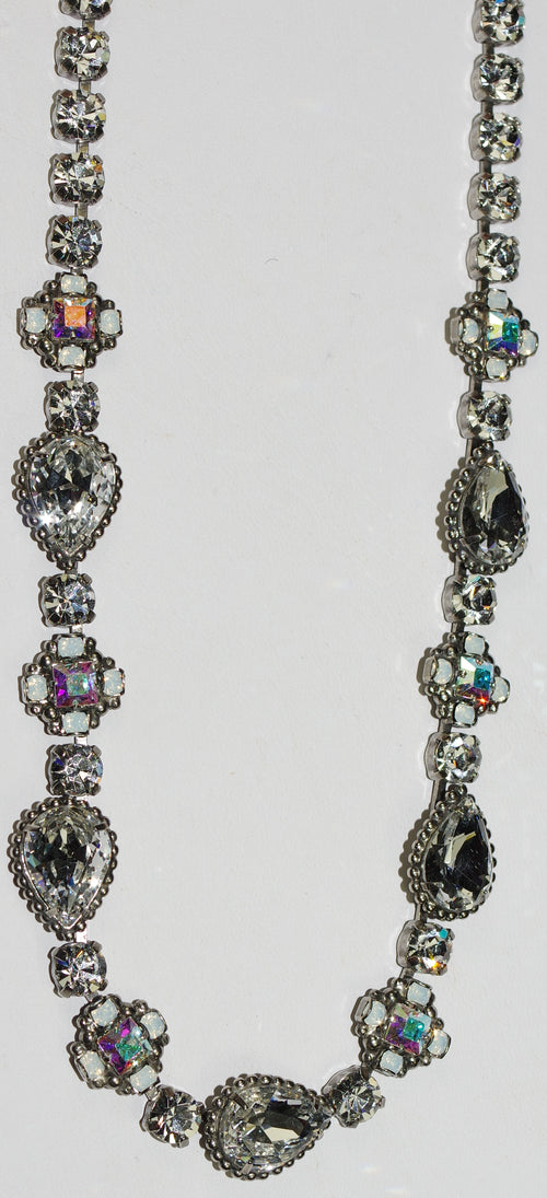 "SORRELLI NECKLACE CLASSIC WHITE BRIDAL: pear, emerald, round crystals in 16"" antique silver setting"
