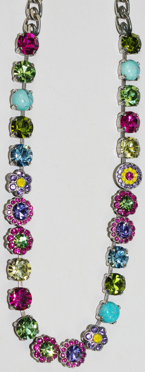 "MARIANA NECKLACE CUBA LOREN: pink, green, blue, yellow stones, 20"" adjustable silver chain"