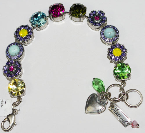 MARIANA  BRACELET CUBA SOPHIA: pink, green, yellow, blue, purple stones in silver setting
