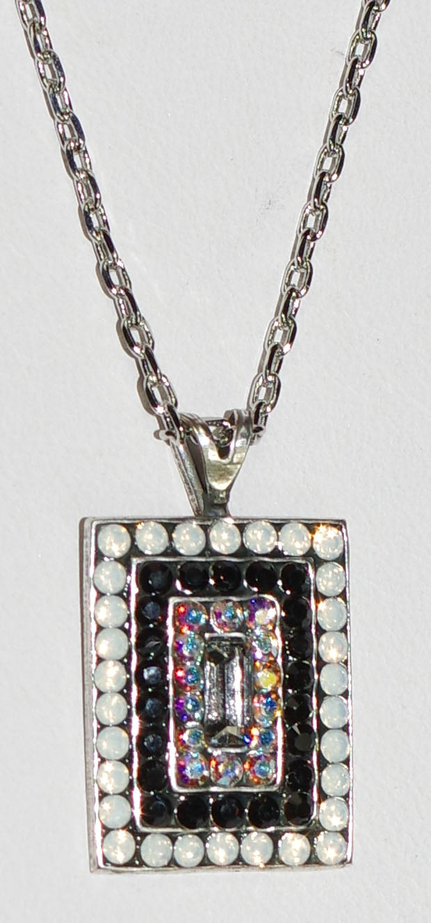 "MARIANA PENDANT ST MARTIN: black, white, a/b stones, 20"" adjustable silver chain"
