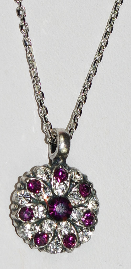 "MARIANA ANGEL PENDANT AMETHYST: purple, clear stones in silver setting, 18"" adjustable chain"