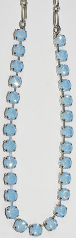 "MARIANA NECKLACE AIR BLUE: blue 1/4"" stones in silver setting, 17"" adjustable chain"