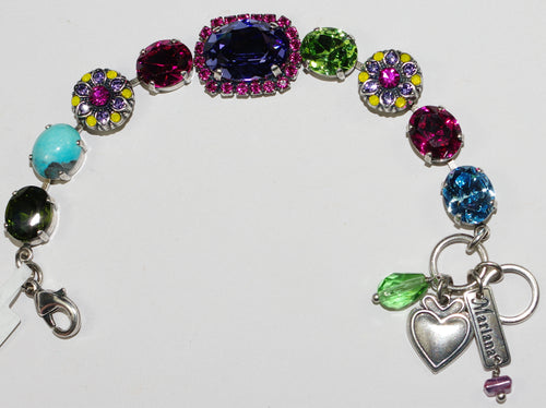 MARIANA  BRACELET CUBA:  pink, blue, green, yellow stones in silver setting, center stone = 1""