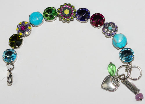 MARIANA  BRACELET CUBA:  pink, blue, green, yellow stones in silver setting