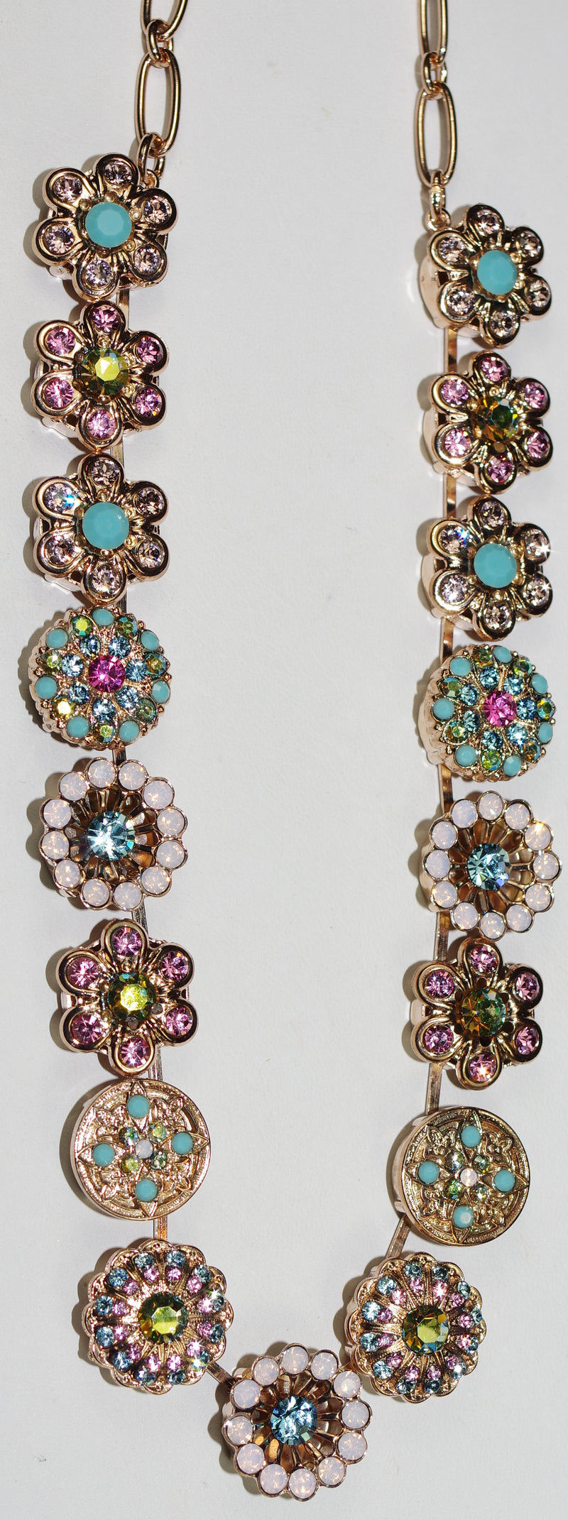 "MARIANA NECKLACE SUMMER FUN: pink, blue, fuschia stones in rose gold setting, charms = 5/8"", 16"" adjustable chain"