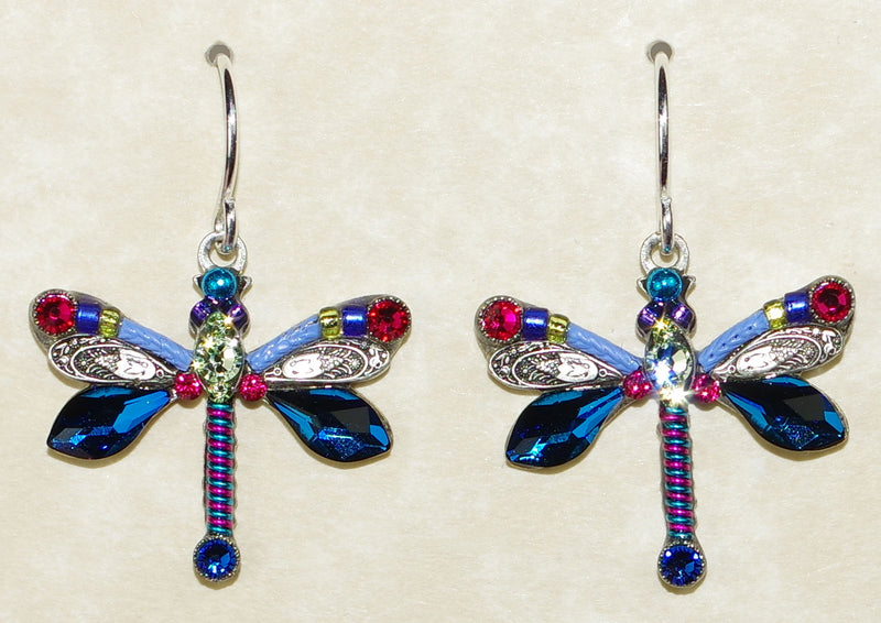 "FIREFLY EARRINGS DRAGONFLY LARGE BB: multi color stones in 3/4"" silver setting, wire backs"