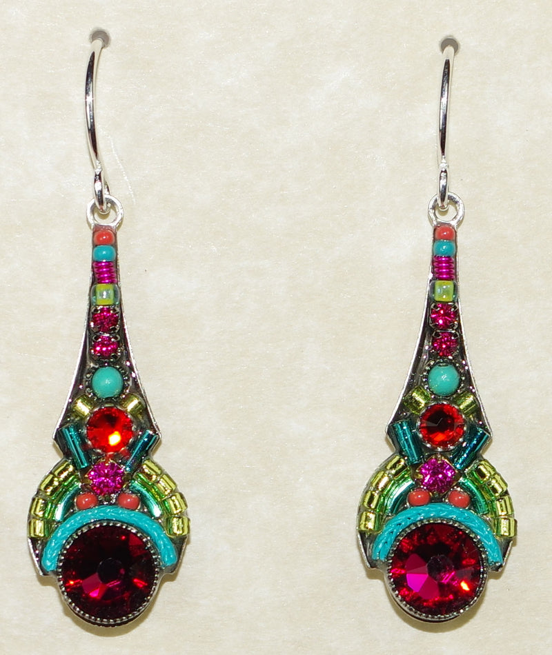 "FIREFLY EARRINGS ART DECO MC: multi color stones in 1.25"" silver setting, wire backs"