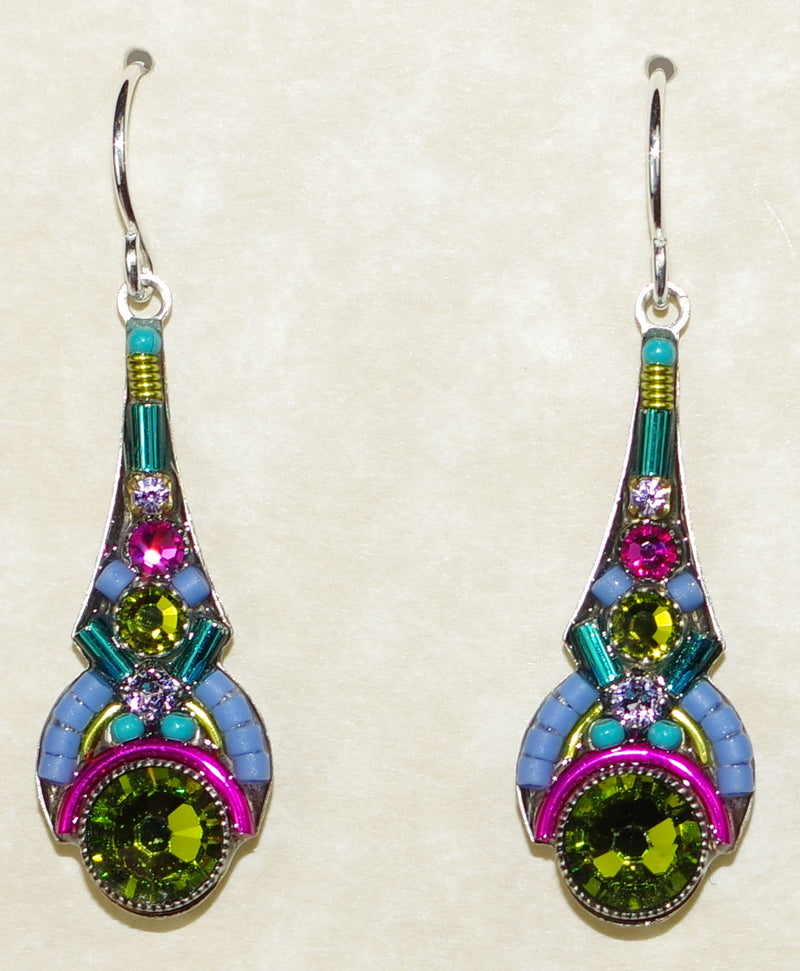"FIREFLY EARRINGS ART DECO DROP OLIVE: multi color stones in 1.25"" silver setting, wire backs"
