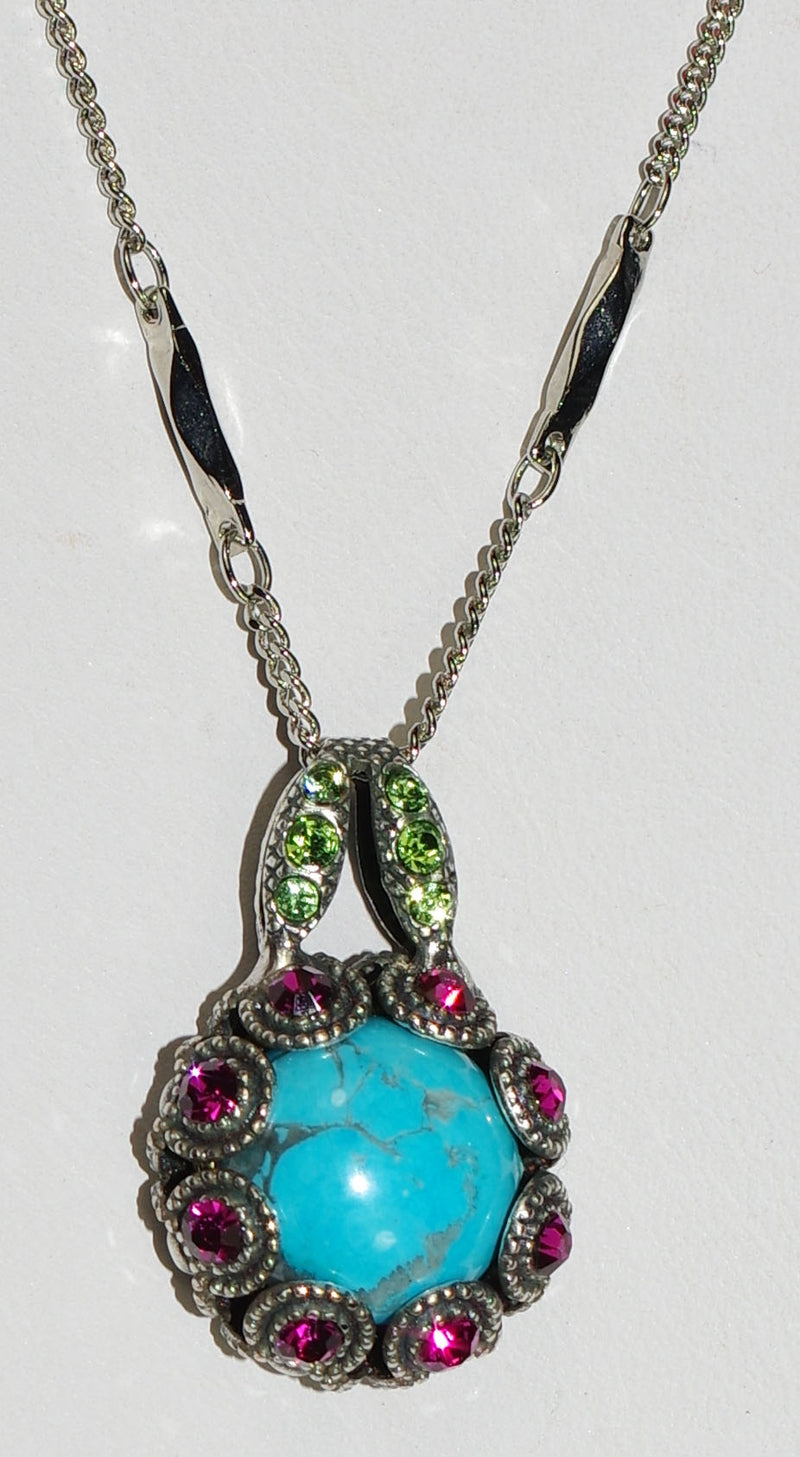 "MARIANA PENDANT CUBA: pink, blue, green stones in silver setting, 20"" adjustable chain"