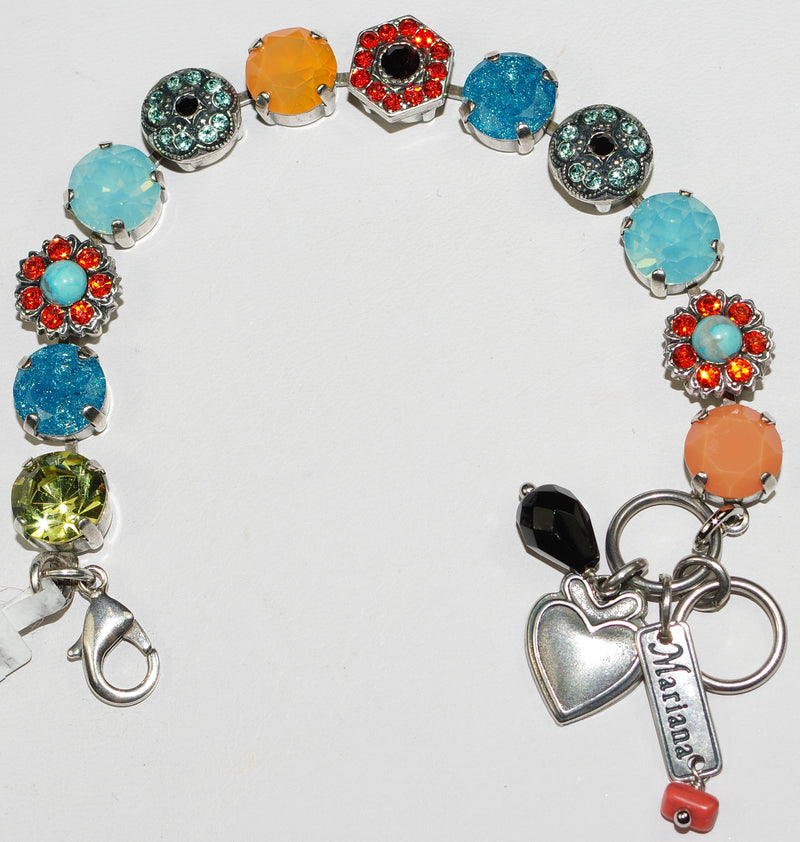 MARIANA BRACELET ST BARTS DIANA: blue, orange, black, green, pacific opal stones in silver setting