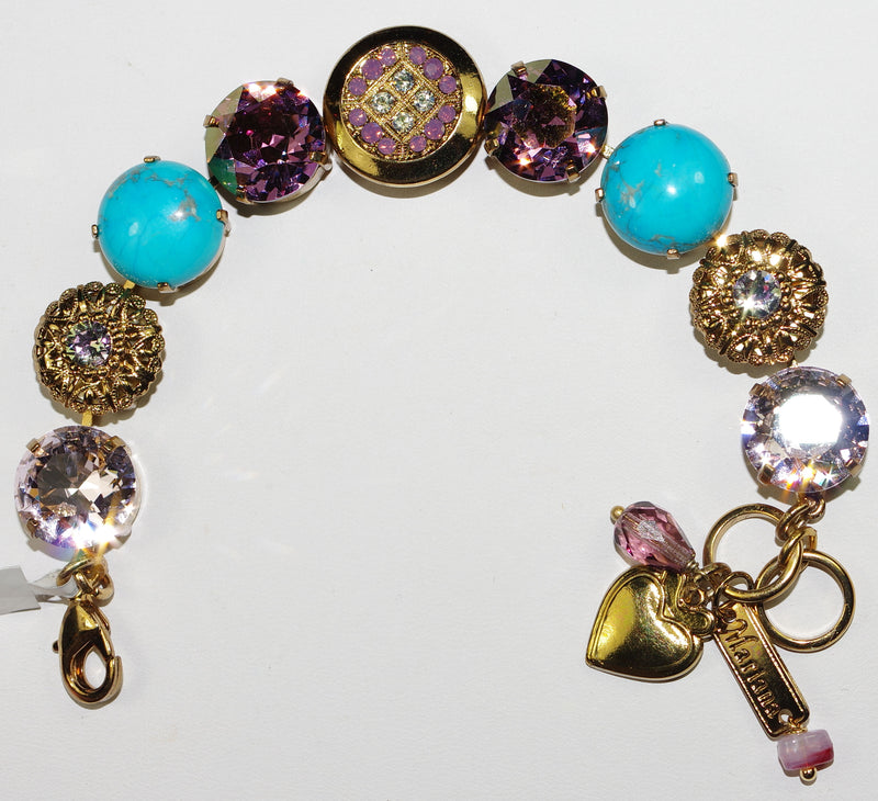 MARIANA BRACELET ST LUCIA BUTTON: clear, turq, purple stones in european gold setting