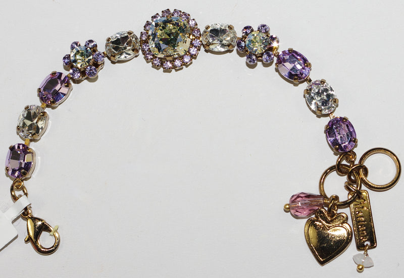 MARIANA BRACELET ST LUCIA: purple, clear stones in european gold setting, center stone = 1/2""