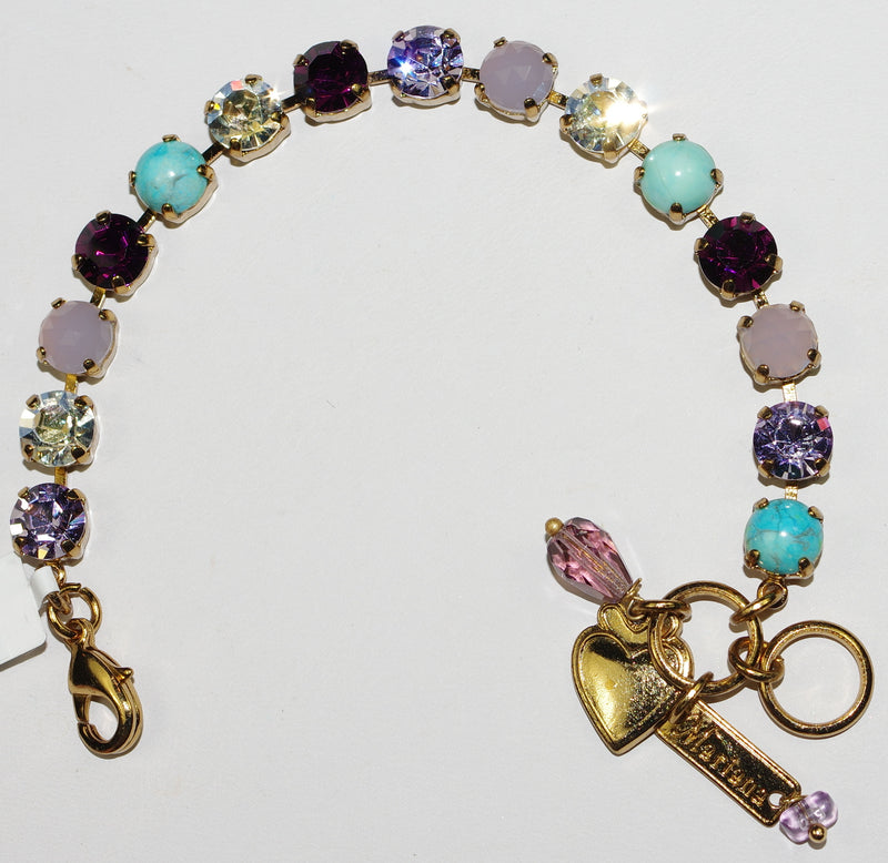 "MARIANA BRACELET BETTE ST LUCIA: 3/8"" purple, clear, turq stones in european gold setting"