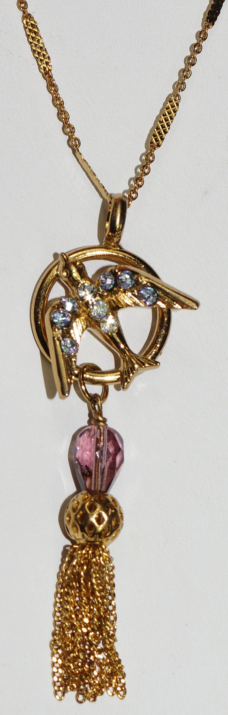 "MARIANA PENDANT ST LUCIA: purple, clear stones in 2.5"" pendant, european gold setting, 32"" adjustable chain"