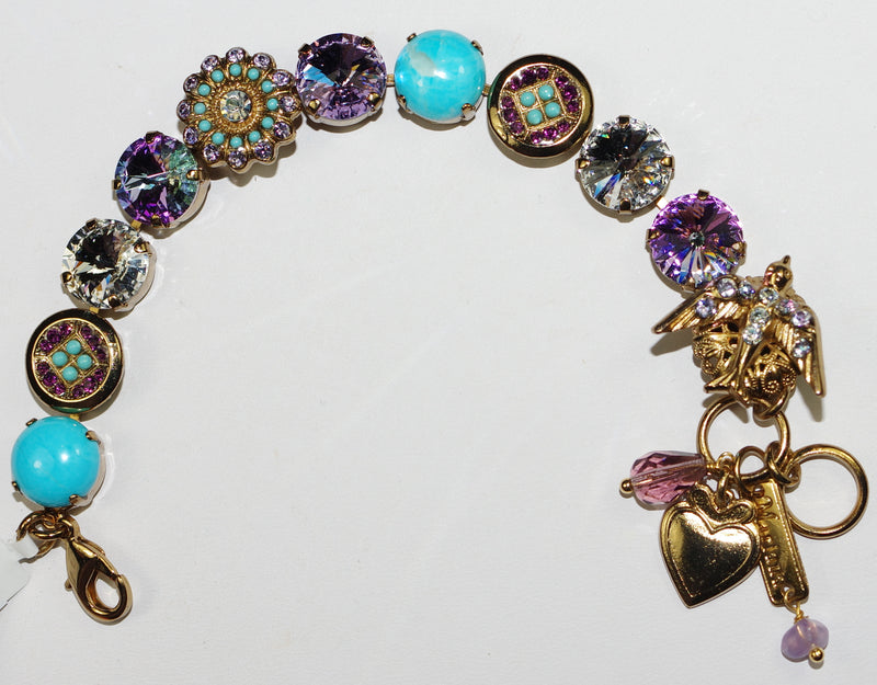 MARIANA BRACELET ST LUCIA: turq, clear, purple stones in european gold setting
