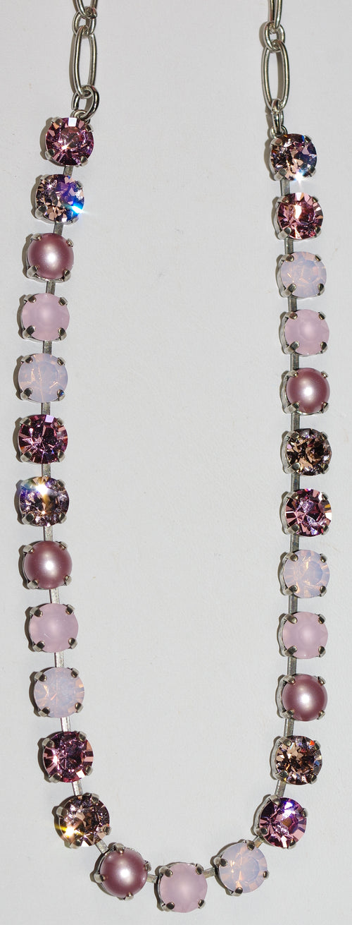 "MARIANA NECKLACE ANTIGUA BETTE : pink, pearl 1/4"" stones in silver setting, 17"" adjustable chain"