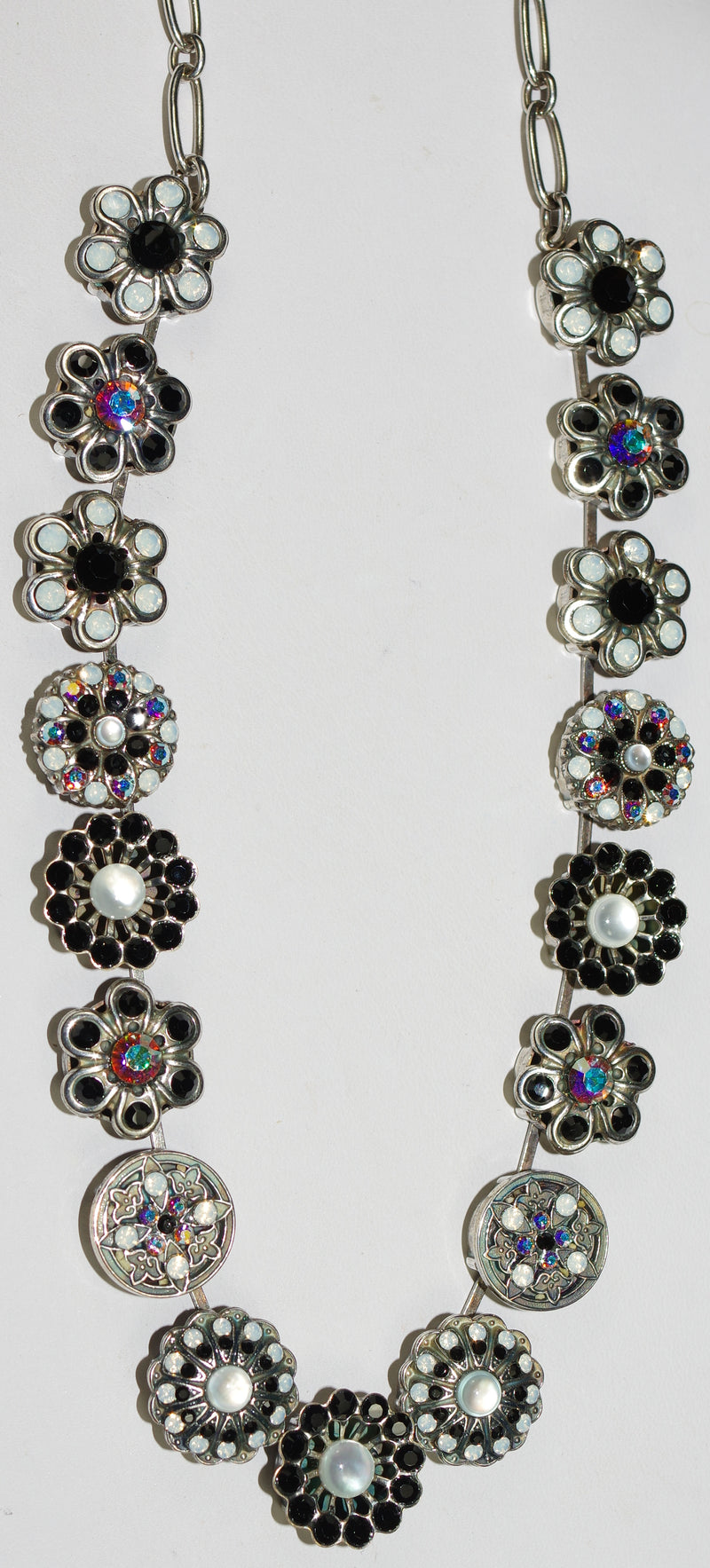 "MARIANA NECKLACE ST MARTIN: 5/8"" black, a/b, white stones, 18"" adjustable silver chain"
