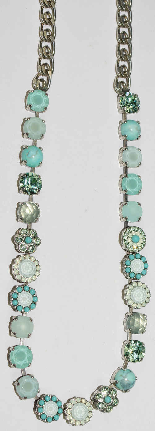 "MARIANA NECKLACE ATHENA LOREN: turq, white, blue, green stones, 20"" adjustable silver chain"