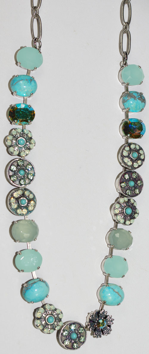"MARIANA NECKLACE ATHENA: 1/2"" green, turq, blue stones, 18"" adjustable silver chain"