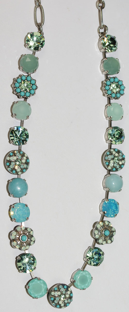"MARIANA NECKLACE ATHENA: 3/8"" green, turq, blue stones, 18"" adjustable silver chain"
