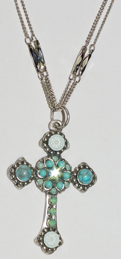 "MARIANA CROSS PENDANT ATHENA: turq, green, white stones in silver setting, 20"" adjustable double chain"