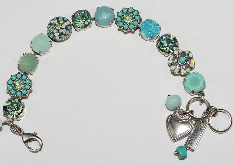 "MARIANA BRACELET ATHENA: turq, pacific opal, green 1/2"" stones in silver setting"