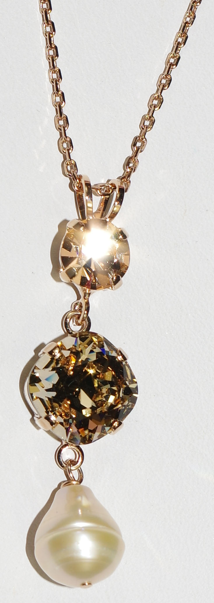 "MARIANA PENDANT BARBADOS: amber, pearl stones in 1.75"" rose gold setting, 18"" adjustable chain"