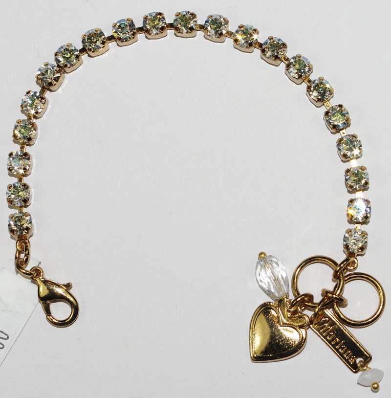 "MARIANA BRACELET ON A CLEAR DAY: 2/8"" clear stones in european gold setting"