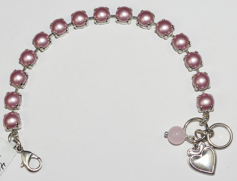 "MARIANA BRACELET PINK PEARL BETTE: pink pearl 1/4"" stones in silver setting"