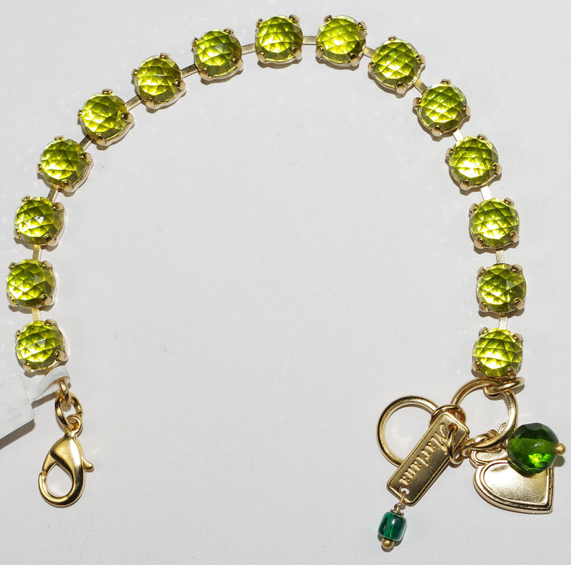 "MARIANA BRACELET BETTE GREEN: 1/4"" green stones in yellow gold setting"