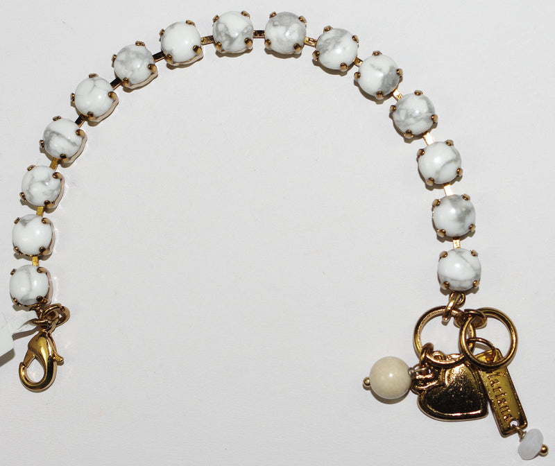 "MARIANA BRACELET WHITE BETTE: white mineral 1/4"" stones in bright yellow gold setting"