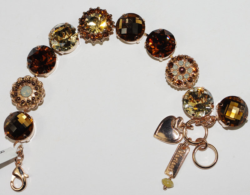 "MARIANA BRACELET APHRODITE: amber, brown, white, 5/8"" stones in rose gold setting"