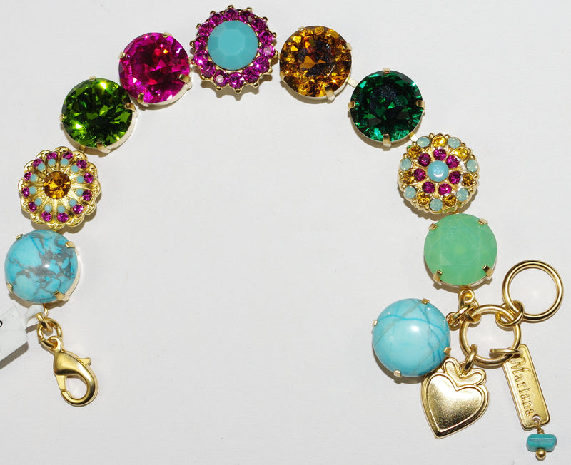 "MARIANA BRACELET HAPPY DAYS: amber, green, blue, pink 5/8"" stones in yellow gold setting"
