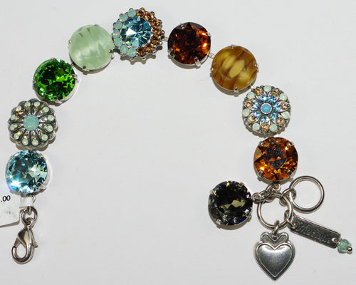 "MARIANA BRACELET FORGET ME NOT: green, brown, orange, pacific opal, blue 5/8"" stones in silver setting"