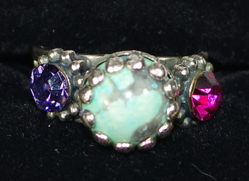 MARIANA RING CUBA: turq, purple, pink stones in silver setting, adjustable size band