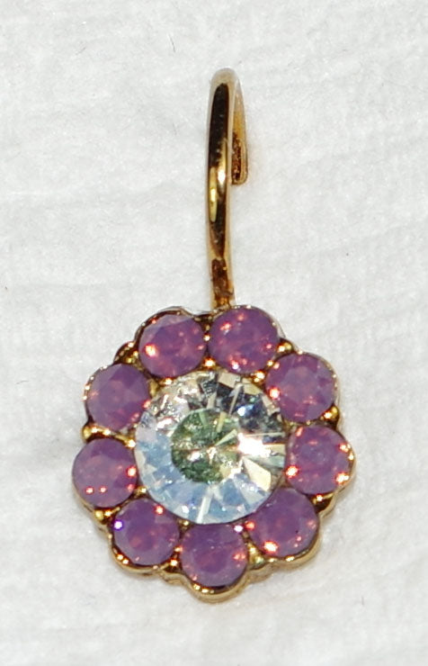 "MARIANA EARRINGS ST LUCIA BLOSSOM: purple, clear stones in 3/8"" european gold setting, lever back"