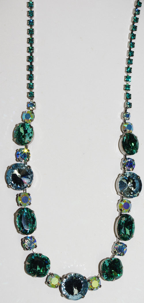 "SORRELLI NECKLACE SWEET MINT: green, blue, teal, round and oval crystals in 20"" antique silver adjustable chain"