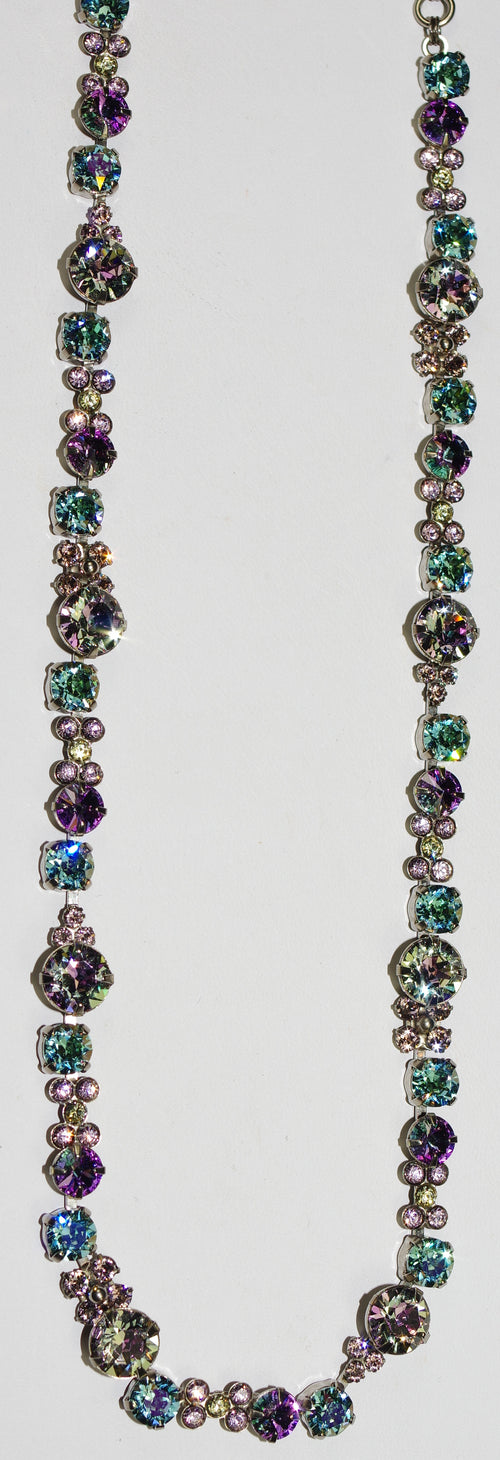 "SORRELLI NECKLACE LILAC PASTEL: green, blue, purple, amber round crystals in 20"" antique silver adjustable chain"
