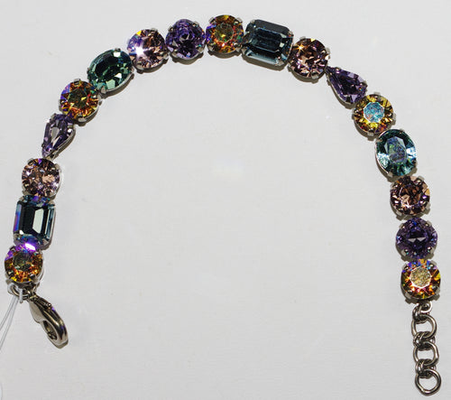 SORRELLI BRACELET LILAC PASTEL: round, pear, emerald cut blue, pink, yellow, amber crystals, antique silver setting