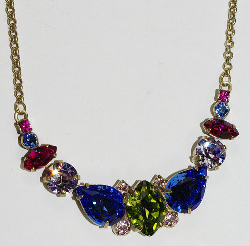 "SORRELLI NECKLACE WILDFLOWER: pink, blue, green, purple, pear, marquis, round crystals in 20"" antique gold adjustable chain"