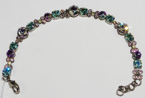 SORRELLI BRACELET LILAC PASTEL: round blue, pink, yellow, amber crystals, antique silver setting