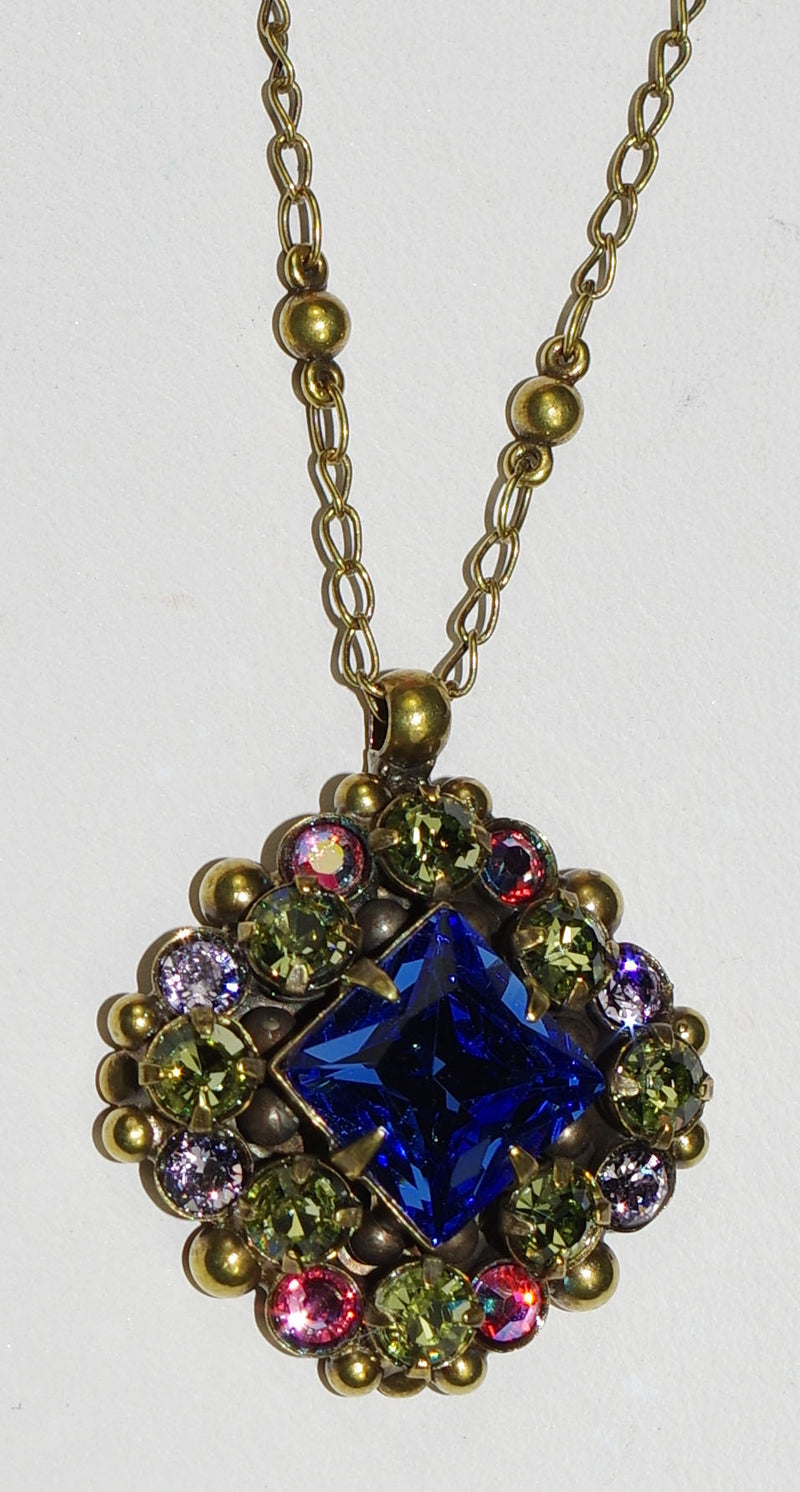 "SORRELLI NECKLACE WILDFLOWER: green, pink, blue crystals, in 1"" pendant, 18"" antique gold adjustable chain"