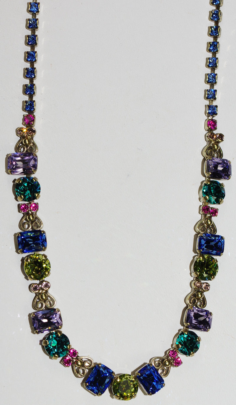 "SORRELLI NECKLACE WILDFLOWER: green, pink, blue, purple, round and emerald cut crystals in 20"" antique gold adjustable chain"