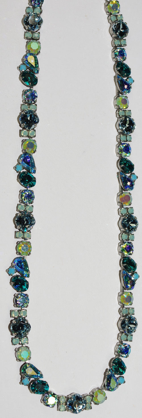 "SORRELLI NECKLACE SWEET MINT: teal, green, blue, pear, round crystals in 20"" antique silver adjustable chain"