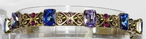 SORRELLI BRACELET WILDFLOWER: emerald and round crystals, pink, blue, pirple, amber antique gold setting, bangle style