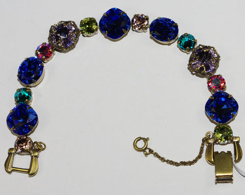 SORRELLI BRACELET WILDFLOWER: round blue, lavender, green, pink crystals, antique gold setting, safety chain